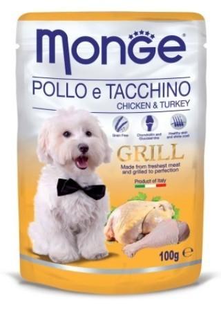Monge Dog Grill (Монж Дог Гриль) - Паучи для собак курица с индейкой 100 г