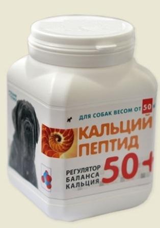 Мультитоник Кальций Пептид 50+ - Витаминная добавка с кальцием для собак крупных пород 60 капс.