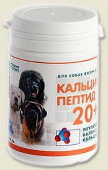 Мультитоник Кальций Пептид 20+ - Витаминная добавка с кальцием для собак средних пород 130 гр
