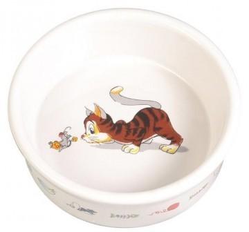 TRIXIE (Трикси) - Миска для кошек Кошка-мышка 1 шт. (керамика, диаметр 11,5 см, 0,2 л)