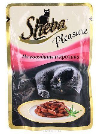 Sheba Pleasure (Шеба Плежер) - Паучи для кошек говядина-кролик 85 гр