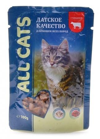All Cats (Ол Кэтс) - Паучи для кошек с говядиной в соусе 100 гр