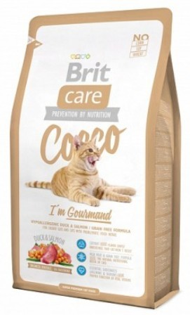 Brit Care Cat Cocco Gourmand (Брит Кеар Кэт Коко Гурманд) - Сухой корм для взрослых кошек беззерновой 0,4 кг (утка и лосось с картофелем)