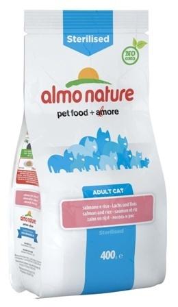 Almo Nature Sterilised (Алмо Натюр Стиралайзд) - Сухой корм для кастрированных кошек с лососем и рисом 0,4 кг
