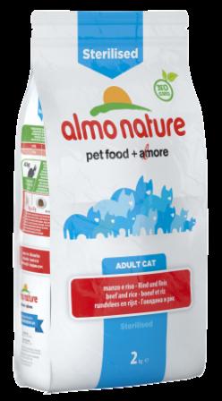 Almo Nature Sterilised (Алмо Натюр Стиралайзд) - Сухой корм для кастрированных кошек с говядиной и рисом 2 кг