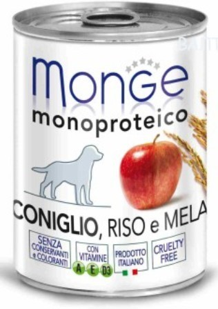 Monge Dog Monoproteico Fruits (Монж Дог Монопротеко Фрутс) - Консервы для собак паштет из кролика с рисом и яблоками 400 г