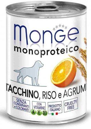 Monge Dog Monoproteico Fruits (Монж Дог Монопротеко Фрутс) - Консервы для собак паштет из индейки с рисом и цитрусовыми 400 г
