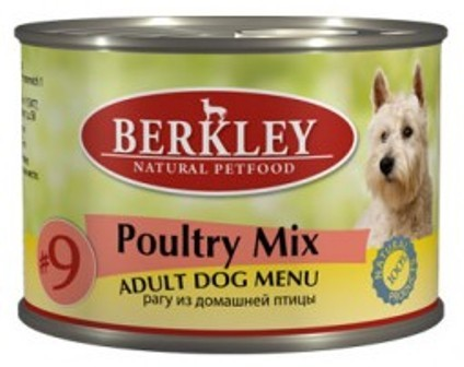 №09 Berkley Adult Dog (Беркли Эдалт Дог) - Консервы взрослых собак Рагу из птицы: цыпленок, индейка и утка 200 гр