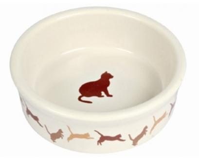 TRIXIE (Трикси) - Миска для кошек с рисунком Кошка 1 шт. (керамика, диаметр 11 см, 0,25 л)