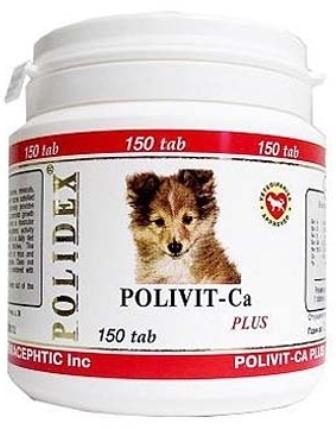 Polidex Polivit-Ca Plus (Полидекс Поливит Кальций Плюс) - Витаминная добавка для для щенков, беременных и кормящих сук с кальцием 150 таб.