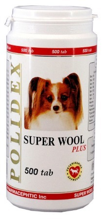 Polidex Super Wool Plus (Полидекс Супер Вул Плюс) - Витаминная добавка для собак для кожи и шерсти 500 таб.
