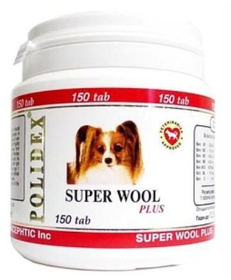 Polidex Super Wool Plus (Полидекс Супер Вул Плюс) - Витаминная добавка для собак для кожи и шерсти 150 таб.