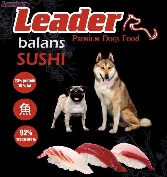 Leader Balans Sushi (Лидер Баланс Суши) - Корм для собак всех пород 20 кг (океаническая рыба с гречкой, мешок)