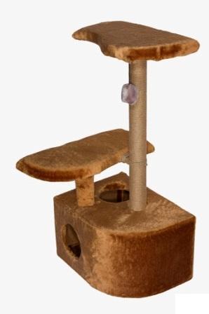 Дарэлл - Домик-когтеточка 3-х уровневый угловой (джутовый, цвет коричневый, размер 36*49*96 см)