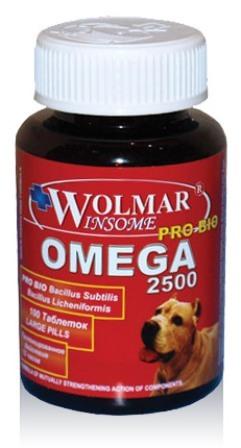 Wolmar Pro Bio Omega 2500 (Волмар Про Био Омега 2500) - Сбалансированный мультивитаминный комплекс для собак средних и крупных пород 100 таб. (1 таб./40 кг)