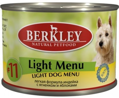 №11 Berkley Adult Dog Light (Беркли Эдалт Дог Лайт) - Консервы для взрослых собак облегченные с индейкой, ягненком и яблоками 200 гр