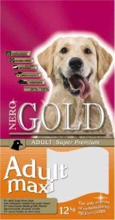 Nero Gold Super Premium Adult Maxi 26/16 (Неро Голд Супер Премиум Эдалт Макси 26/16) - Корм для взрослых собак крупных пород (курица и рис) 18 кг
