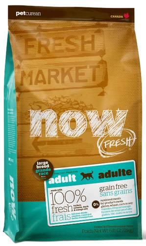 Now!Fresh! Grain Free Adult Large Dog Recipe 26/16 (Нау!Фреш! Грейн Фри Эдалт Лардж Дог Ресайп 27/13) - Корм для взрослых собак крупных пород (БЕЗЗЕРНОВОЙ, индейка, утка и овощи) 11,35 кг