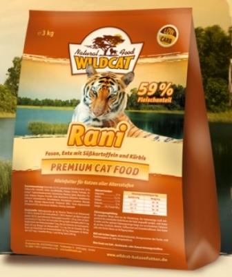 Wildcat Rani (Вайлдкэт Рани) - Корм для кошек всех пород и возрастов (фазан, утка) 3 кг