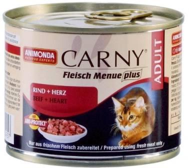 Animonda Carny Adult Beef&Heart (Анимонда Карни Эдалт Биф энд Харт) - Консервы для взрослых кошек с говядиной и сердцем 200 гр