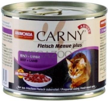 Animonda Carny Adult Beef&Lamb (Анимонда Карни Эдалт Биф энд Лэмб) - Консервы для взрослых кошек с говядиной и ягненком 200 гр