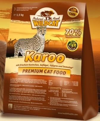 Wildcat Karoo (Вайлдкэт Каро) - Корм для кошек всех пород и возрастов (кролик, индейка, цыпленок, лосось) 0,5 кг