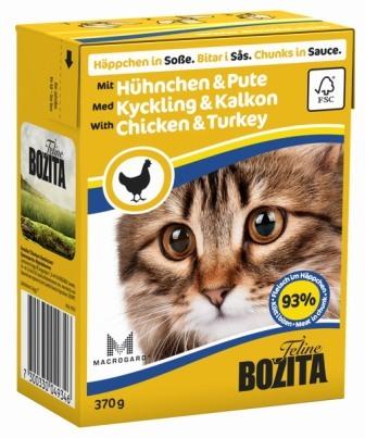 Bozita Super Premium (Бозита Супер Премиум) - Кусочки в соусе для кошек с курицей и индейкой 370 гр