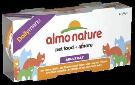 Набор 2 штуки Almo Nature Daily Menu Classic (Алмо натюр Дейли меню Классик) - Консервы для кошек Меню с Тунцом и Курицей 170 гр