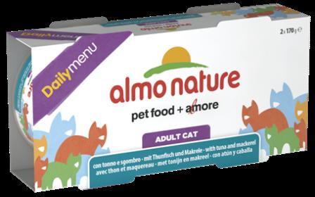 Набор 2 штуки Almo Nature Daily Menu Classic (Алмо натюр Дейли меню Классик) - Консервы для кошек Меню с Тунцом и Макрелью 170 гр