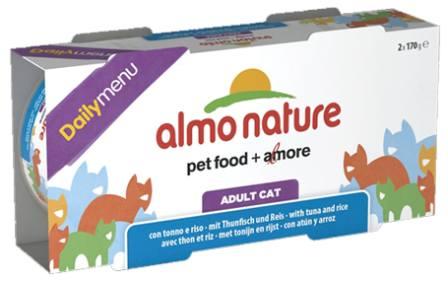 Набор 2 штуки Almo Nature Daily Menu Classic (Алмо натюр Дейли меню Классик) - Консервы для кошек Меню с Тунцом и Рисом 170 гр