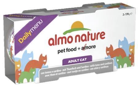 Набор 2 штуки Almo Nature Daily Menu Classic (Алмо натюр Дейли меню Классик) - Консервы для кошек Меню с Тунцом и Cардинами 170 гр
