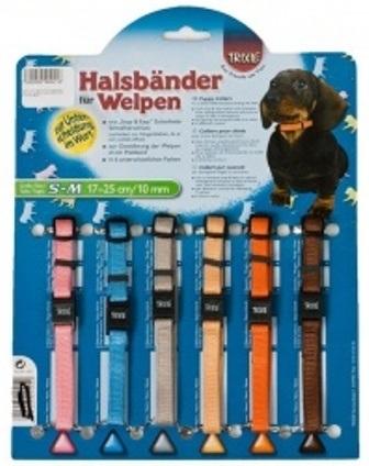TRIXIE (Трикси) - Набор нейлоновых ошейников для щенков 17-25см*1см (6 штук, цветные)
