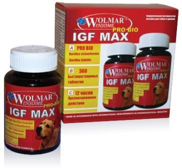 Wolmar Pro Bio IGF MAX (Волмар Про Био ИЖФ Макс) - Комплекс для развитие мышечной, соединительной ткани, увеличение массы и оптимизацию метаболизма питания для щенков и собак крупных пород 180 таб.