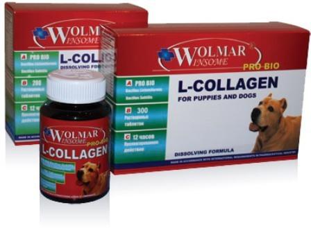 Wolmar Pro Bio L-COLLAGEN (Волмар Про Био Л-Коллаген) - Cинергический комплекс для восстановления и продуцирования сухожилий, связок для собак всех возрастов 100 таб. (1 таб./20 кг)