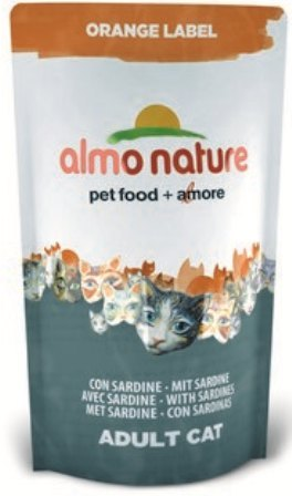 Almo Nature Orange Label (Алмо Натюр Оранж Лейбл) - Cухой корм для взрослых (и кастрированных) кошек всех пород (сардины) 750 гр