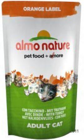 Almo Nature Orange Label (Алмо Натюр Оранж Лейбл) - Cухой корм для взрослых (и кастрированных) кошек всех пород (индейка) 750 гр