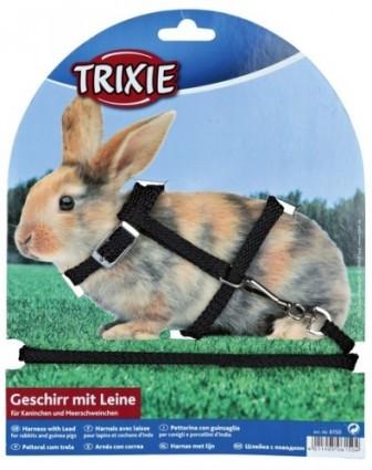 TRIXIE (Трикси) - Шлейка для кроликов и хорьков нейлоновая с поводком 1см*120см