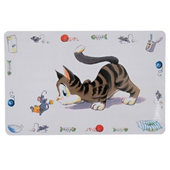 TRIXIE (Трикси) - Коврик под миску для кошек Комичная кошка (44*29 см)