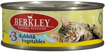 №3 Berkley Kitten Rabbit&Vegetables (Беркли Киттен Рэббит энд Веджетаблс) - Консервы для котят с кроликом и овощами 100 гр