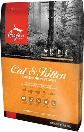 Orijen Cat&Kitten 90/10 (Ориджен Кэт энд Киттен 90/10) - Корм для кошек всех пород и возрастов с курицей (БЕЗЗЕРНОВОЙ) 1,8 кг