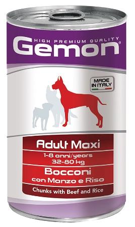 Gemon Dog (Гемон Дог) - Консервы для собак крупных пород кусочки говядины с рисом 1250 гр