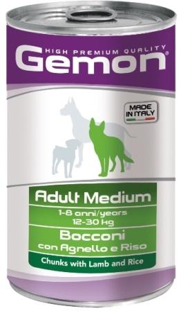 Gemon Dog (Гемон Дог) - Консервы для собак средних пород кусочки ягненка с рисом 1250 гр