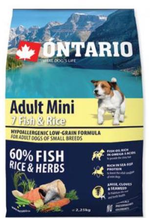 Ontario (Онтарио) - Для собак малых пород с 7 видами рыбы и рисом 0,75 кг