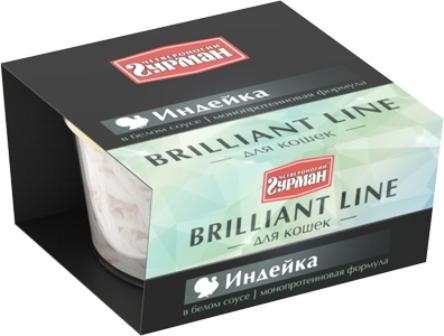Четвероногий Гурман Бриллиантовая линия - Консервы для кошек индейка в белом соусе 100 гр