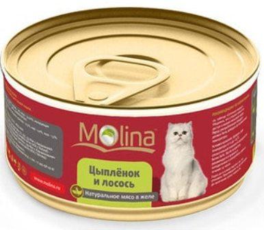 Molina (Молина) - Консервы для кошек цыпленок с лососем 80 гр