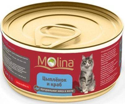 Molina (Молина) - Консервы для кошек цыпленок с крабами 80 гр