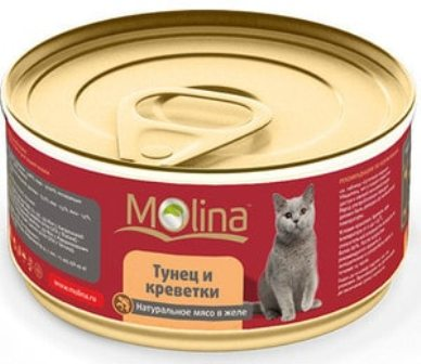 Molina (Молина) - Консервы для кошек тунец с креветками 80 гр