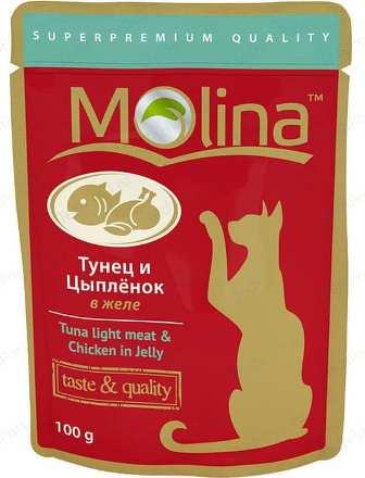 Молина (Молина) - Пауч для кошек Тунец и цыпленок в желе 100 г