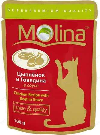 Молина (Молина) - Пауч для кошек Цыпленок и говядина в соусе 100 г