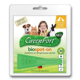 Green Fort Bio (Грин Форт Био) - Капли от блох и других эктопаразитов для для собак мелких пород, кошек и кроликов 1 мл